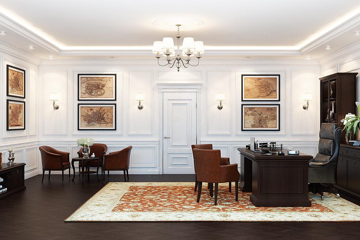 kabinet-dizayn-inter'yera-v-chastnom-dome-foto